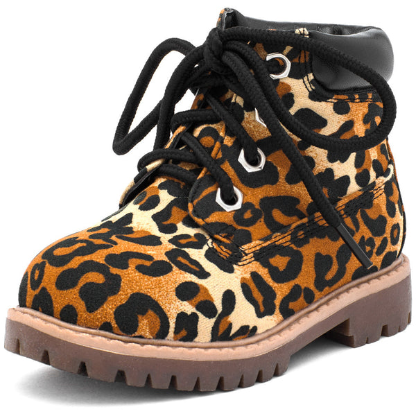Take A Hike Girls Leopard Print Work Boot - Citi Trends Girls - Front