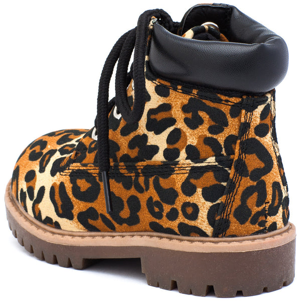 Take A Hike Girls Leopard Print Work Boot - Citi Trends Girls - Back