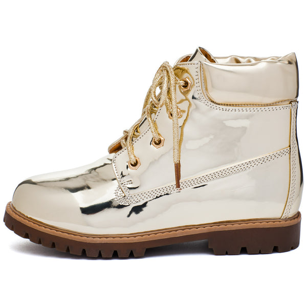 Take A Hike Girls Gold Metallic Work Boot - Citi Trends Girls - Side