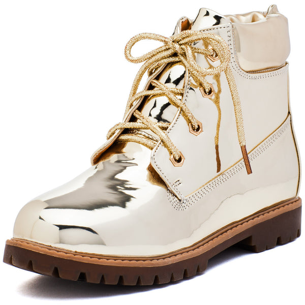 Take A Hike Girls Gold Metallic Work Boot - Citi Trends Girls - Front