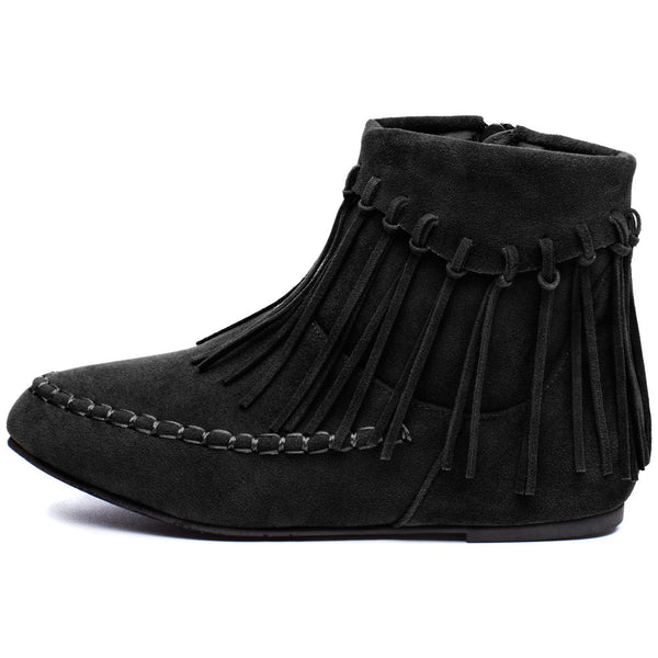 The Fringe Effect Girls Black Moccasin Bootie - Citi Trends Girls - Side