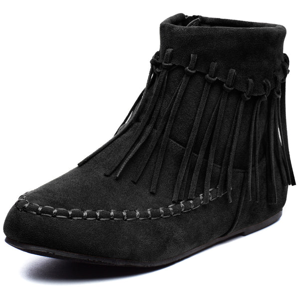 The Fringe Effect Girls Black Moccasin Bootie - Citi Trends Girls - Front