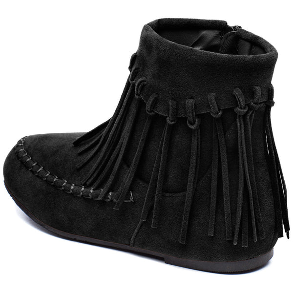The Fringe Effect Girls Black Moccasin Bootie - Citi Trends Girls - Back