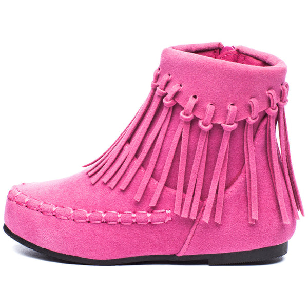 The Fringe Effect Girls Pink Moccasin Bootie - Citi Trends Girls - Side