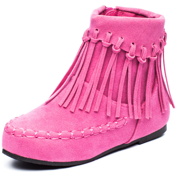 The Fringe Effect Girls Pink Moccasin Bootie - Citi Trends Girls - Front