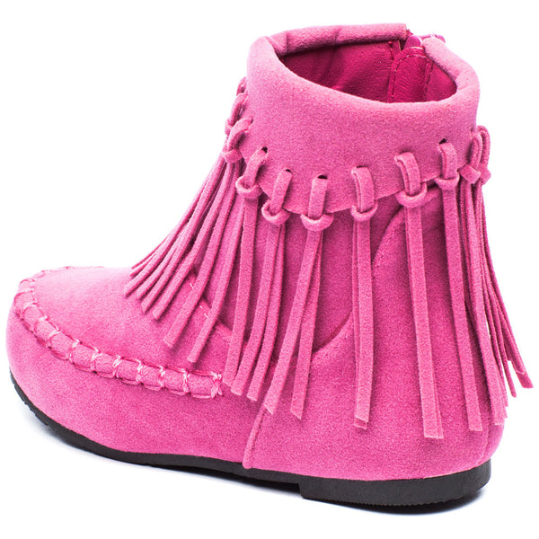 The Fringe Effect Girls Pink Moccasin Bootie - Citi Trends Girls - Back