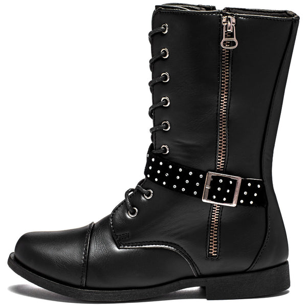 Lace To The Top Girls Black Combat Boot - Citi Trends Girls - Side