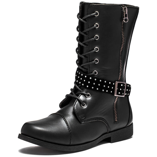 Lace To The Top Girls Black Combat Boot - Citi Trends Girls - Front