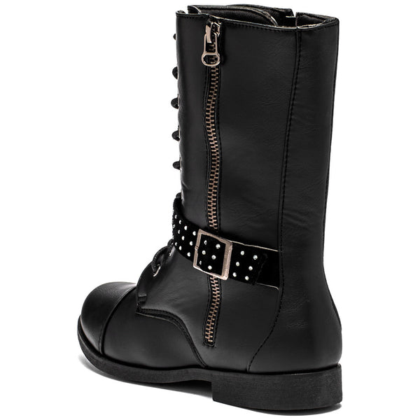 Lace To The Top Girls Black Combat Boot - Citi Trends Girls - Back