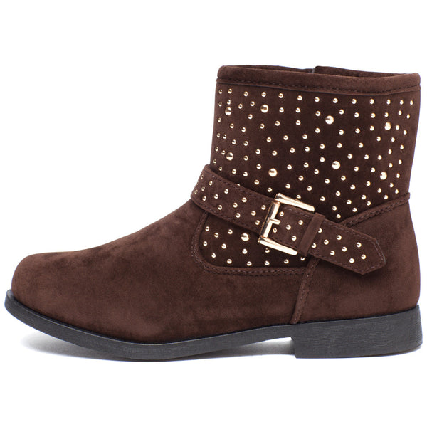 Rock It Out Girls Brown Faux Suede Studded Bootie - Citi Trends Girls - Side