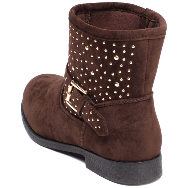 Rock It Out Girls Brown Faux Suede Studded Bootie - Citi Trends Girls - Back
