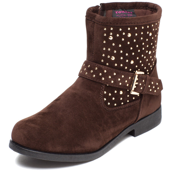 Rock It Out Girls Brown Faux Suede Studded Bootie - Citi Trends Girls - Front