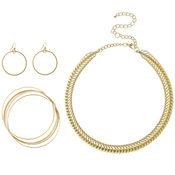 Go For The Gold Necklace/Bangle/Earring Set - Citi Trends Accessories - Front
