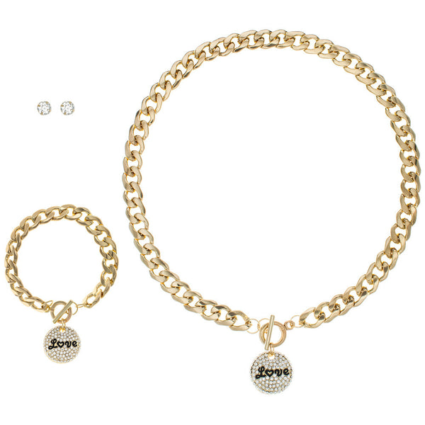 Love To Love You Gold Charm Necklace/Bracelet/Earring Set - Citi Trends Accessories - Front