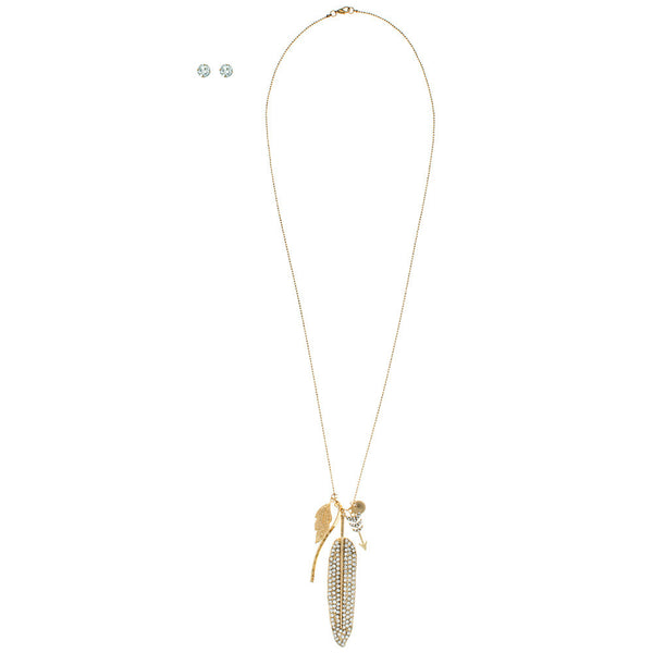 Charmed, I'm Sure Gold Leaf Charm Necklace/Earring Set - Citi Trends Accessories - Front