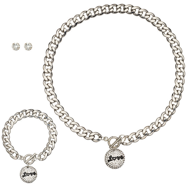 Love To Love You Silver Charm Necklace/Bracelet/Earring Set - Citi Trends Accessories - Front