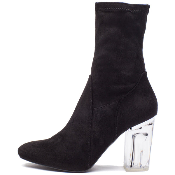 See Right Through Black Faux Suede Bootie - Citi Trends Shoes - Side