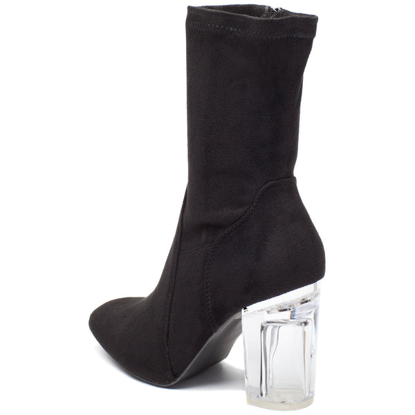 See Right Through Black Faux Suede Bootie - Citi Trends Shoes - Back