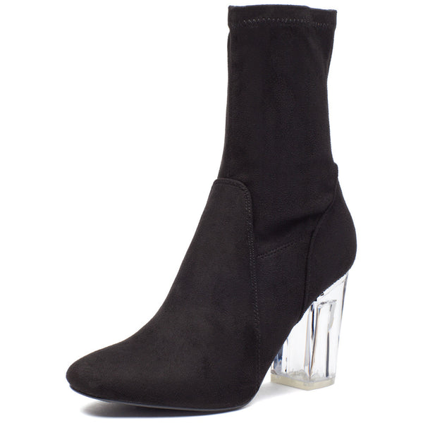 See Right Through Black Faux Suede Bootie - Citi Trends Shoes - Front