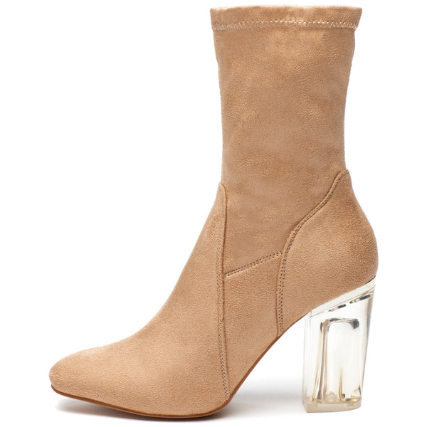 See Right Through Nude Faux Suede Bootie - Citi Trends Shoes - Side