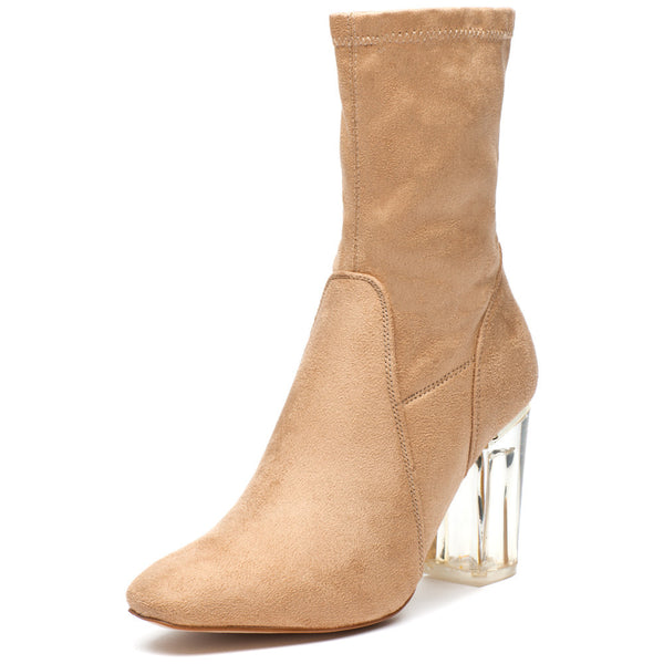 See Right Through Nude Faux Suede Bootie - Citi Trends Shoes - Front