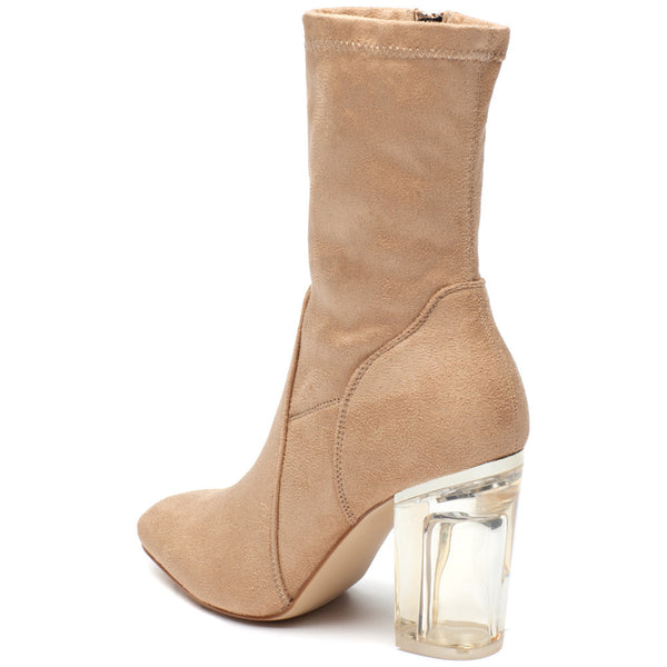 See Right Through Nude Faux Suede Bootie - Citi Trends Shoes - Back