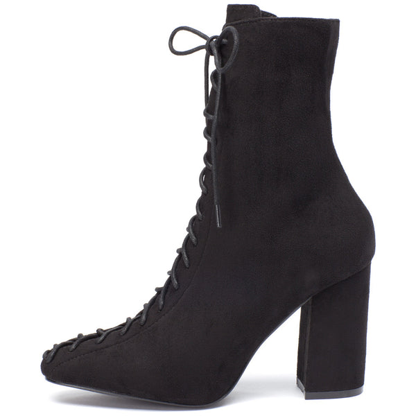 From Top To Toe Black Faux Suede Lace-Up Bootie - Citi Trends Shoes - Side