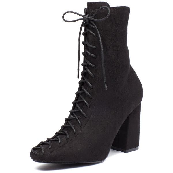From Top To Toe Black Faux Suede Lace-Up Bootie - Citi Trends Shoes - Front