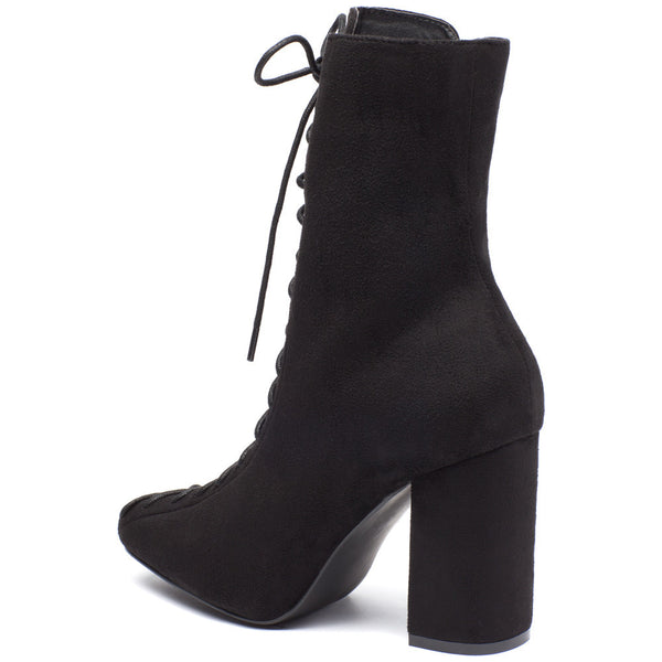 From To To Toe Black Faux Suede Lace-Up Bootie - Citi Trends Shoes - Back