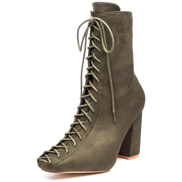 From Top To Toe Olive Faux Suede Lace-Up Bootie - Citi Trends Shoes - Front