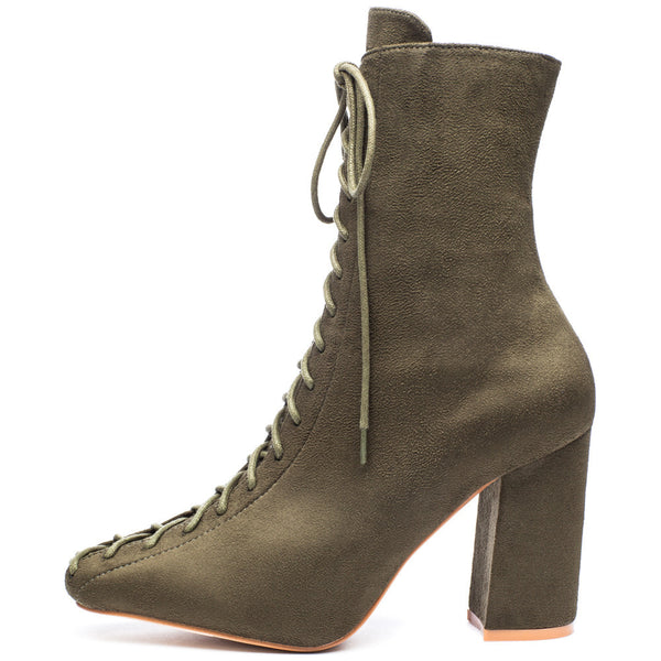 From Top To Toe Olive Faux Suede Lace-Up Bootie - Citi Trends Shoes - Side