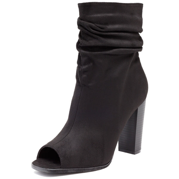 Work To Weekend Black Peep-Toe Slouch Bootie - Citi Trends Shoes - Front