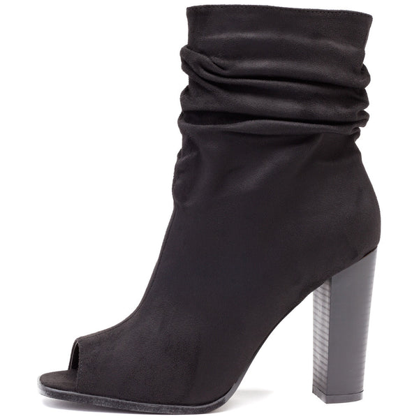 Work To Weekend Black Peep-Toe Slouch Bootie - Citi Trends Shoes - Side
