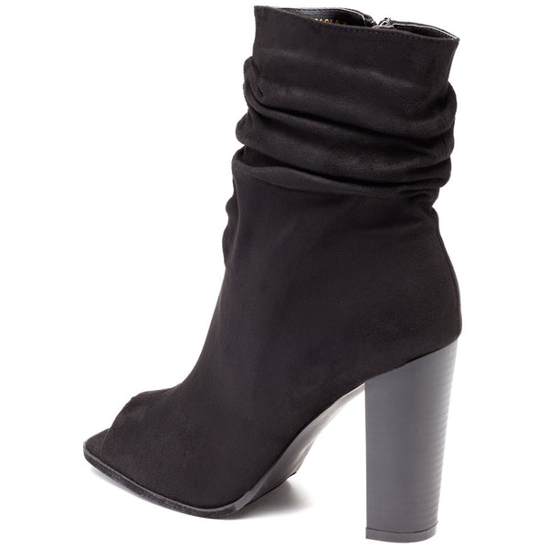 Work To Weekend Black Peep-Toe Slouch Bootie - Citi Trends Shoes - Back