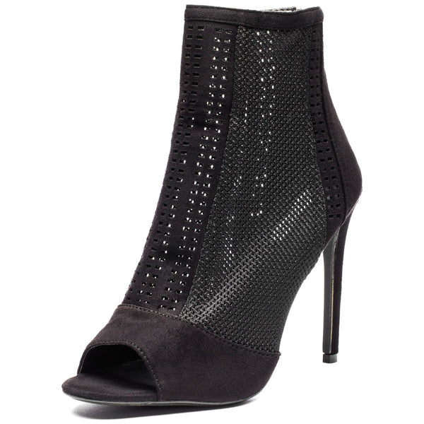 Style Stepper Black Mesh Peep-Toe Bootie - Citi Trends Shoes - Front