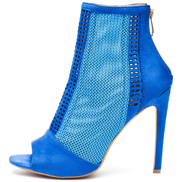 Style Stepper Blue Mesh Peep-Toe Bootie - Citi Trends Shoes - Side