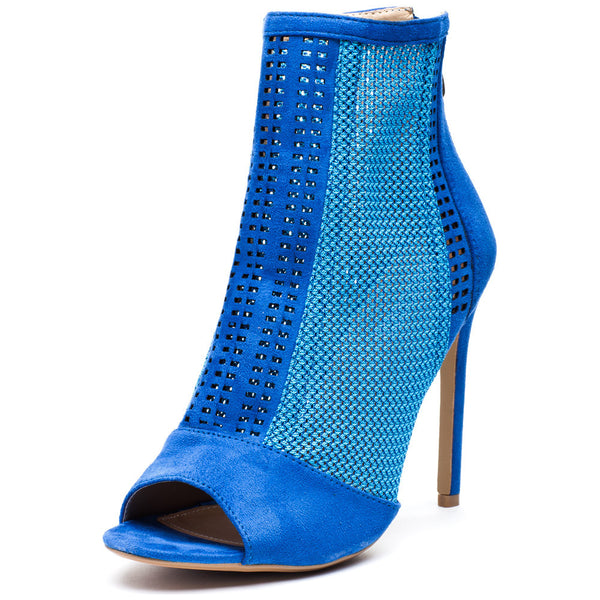 Style Stepper Blue Mesh Peep-Toe Bootie - Citi Trends Shoes - Front