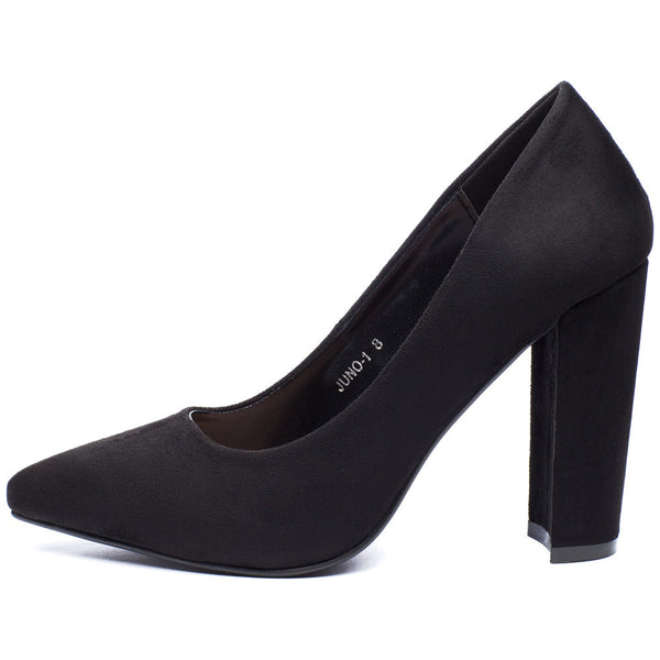 In Chic Motion Black Faux Suede Pump - Citi Trends Shoes - Side