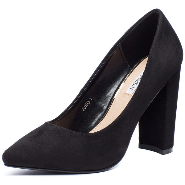 In Chic Motion Black Faux Suede Pump - Citi Trends Shoes - Front