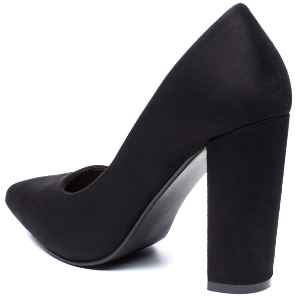 In Chic Motion Black Faux Suede Pump - Citi Trends Shoes - Back