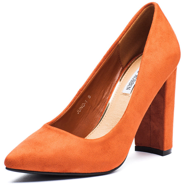 In Chic Motion Rust Faux Suede Pump - Citi Trends Shoes - Front