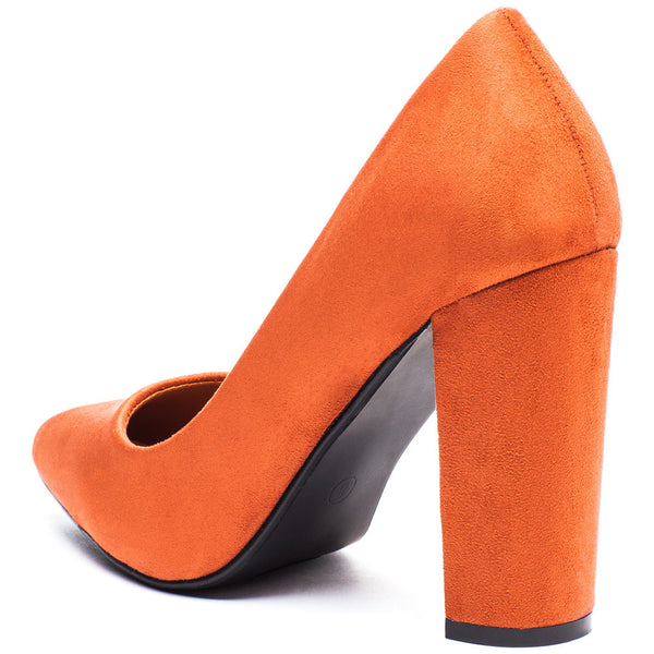 In Chic Motion Rust Faux Suede Pump - Citi Trends Shoes - Back