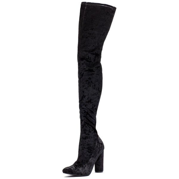 Totally Crushing It! Black Velvet Thigh-High Boot - Citi  Trends Shoes - Front