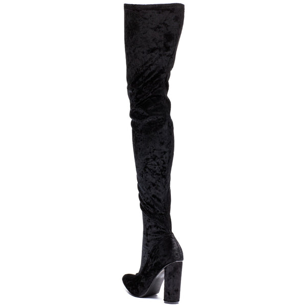 Totally Crushing It! Black Velvet Thigh-High Boot - Citi  Trends Shoes - Back