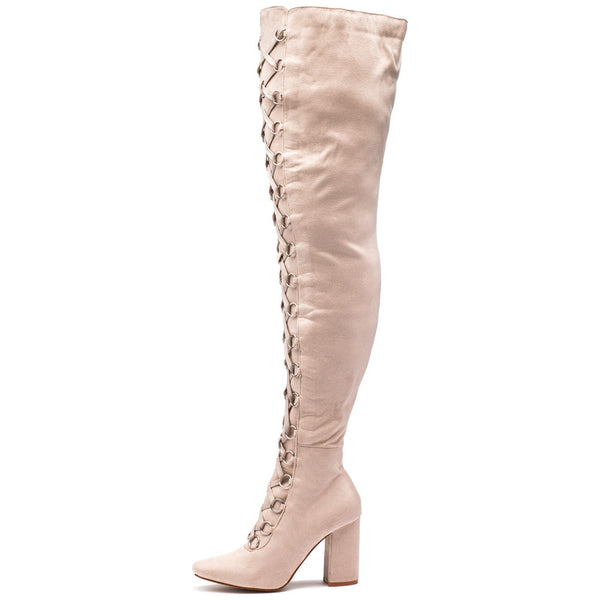 Tall Or Nothing Beige Lace-Up Thigh-High Boot - Citi Trends Shoes - Side