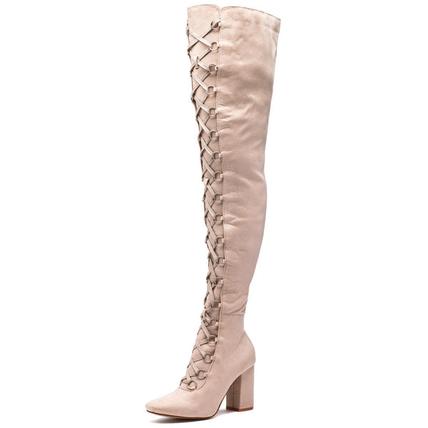Tall Or Nothing Beige Lace-Up Thigh-High Boot - Citi Trends Shoes - Front