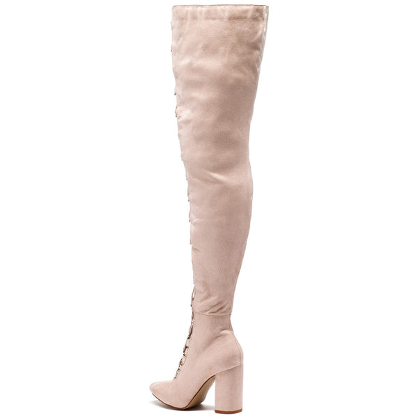 Tall Or Nothing Beige Lace-Up Thigh-High Boot - Citi Trends Shoes - Back