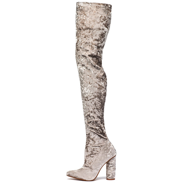 Totally Crushing It! Grey Velvet Thigh-High Boot - Citi  Trends Shoes - Side