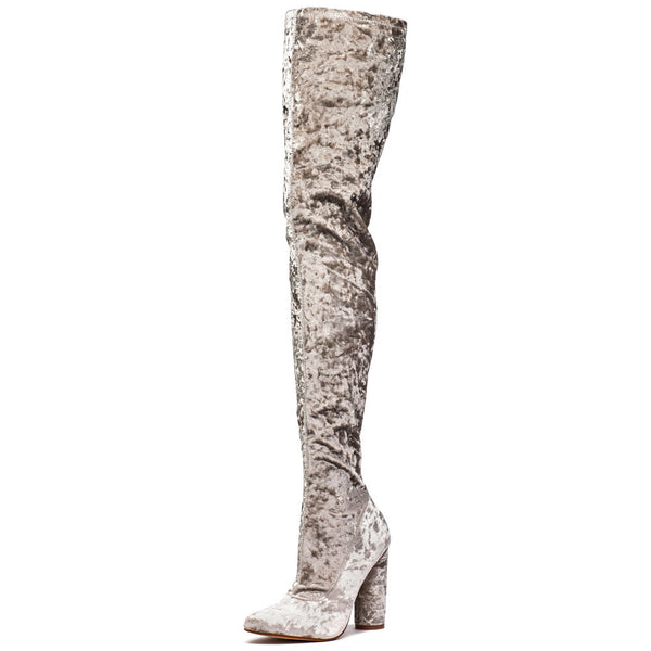Totally Crushing It! Grey Velvet Thigh-High Boot - Citi  Trends Shoes - Front