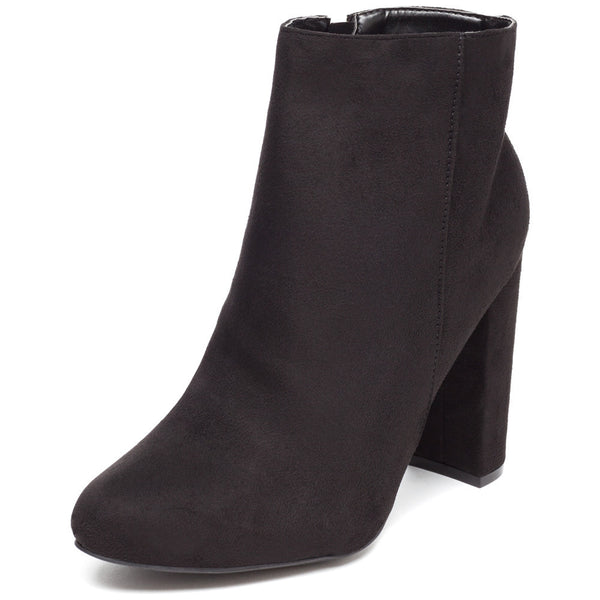 Block Party Black Faux Suede Bootie - Citi Trends Shoes - Front